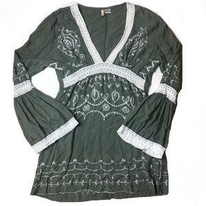 Elan Boho Green Crochet Hippy Bell Sleeve Tunic